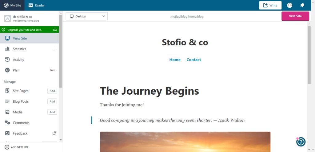 otvaranje blog na WordPress