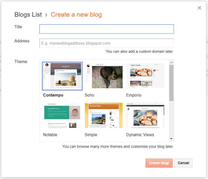 napraviti blog na Blogger