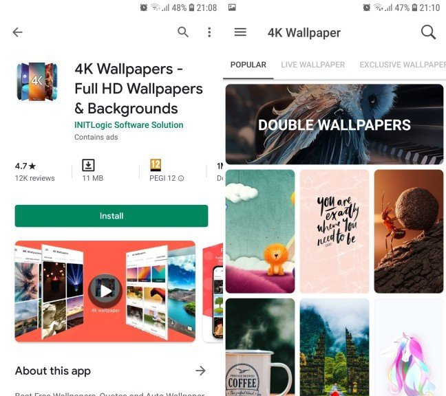 4k Wallpaper aplikacija za pozadine za telefon
