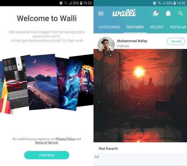 walli aplikacija za pozadine